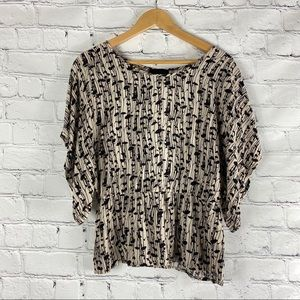 Cynthia Rowley Dolman Sleeve Tan Black Floral Top